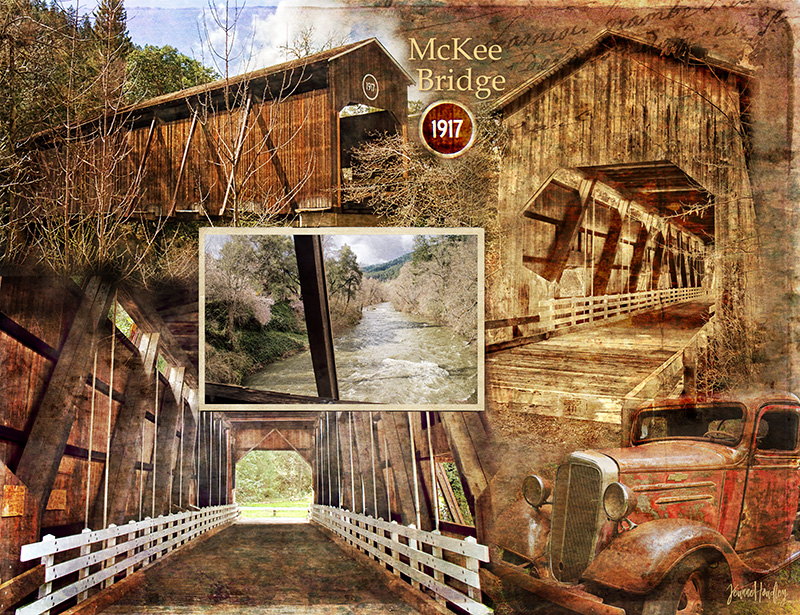 Composite of images of McKee Bridge a covered bridge in Southern Oregon